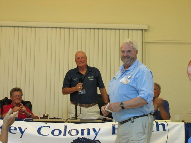 Jim Teague accepts prize for heaviest Mangrove snapper in December
